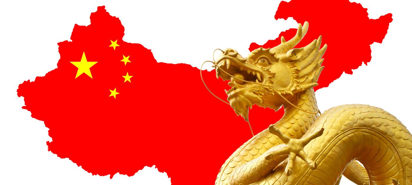 Rote Chinalandkarte und goldener Drache - Verladungen von/nach China mit Contibridge