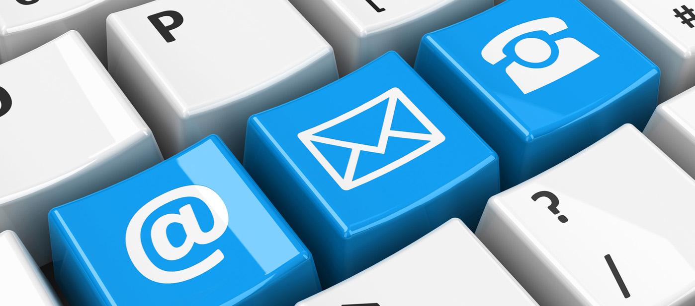 Email, Brief und Telefon-Tastatur - Kontakt und Auskünfte bei Contibridge