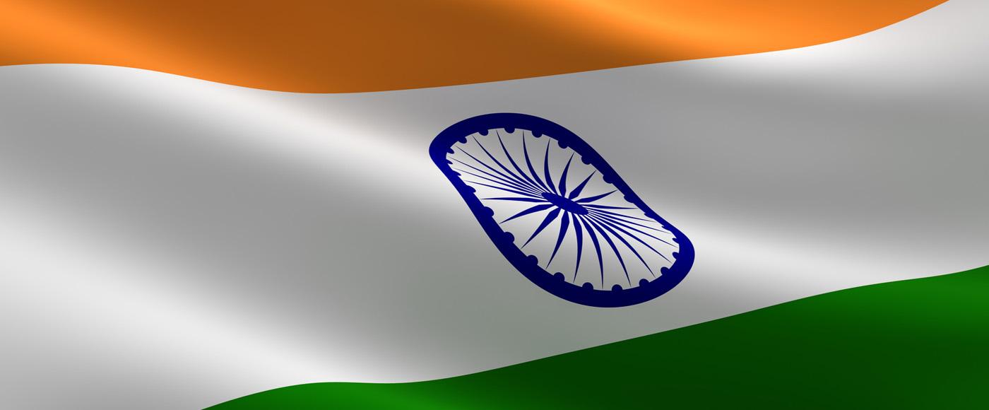 Wehende indische Flagge - Indien Im-und Exporte mit Fachspedition Contibridge Hamburg