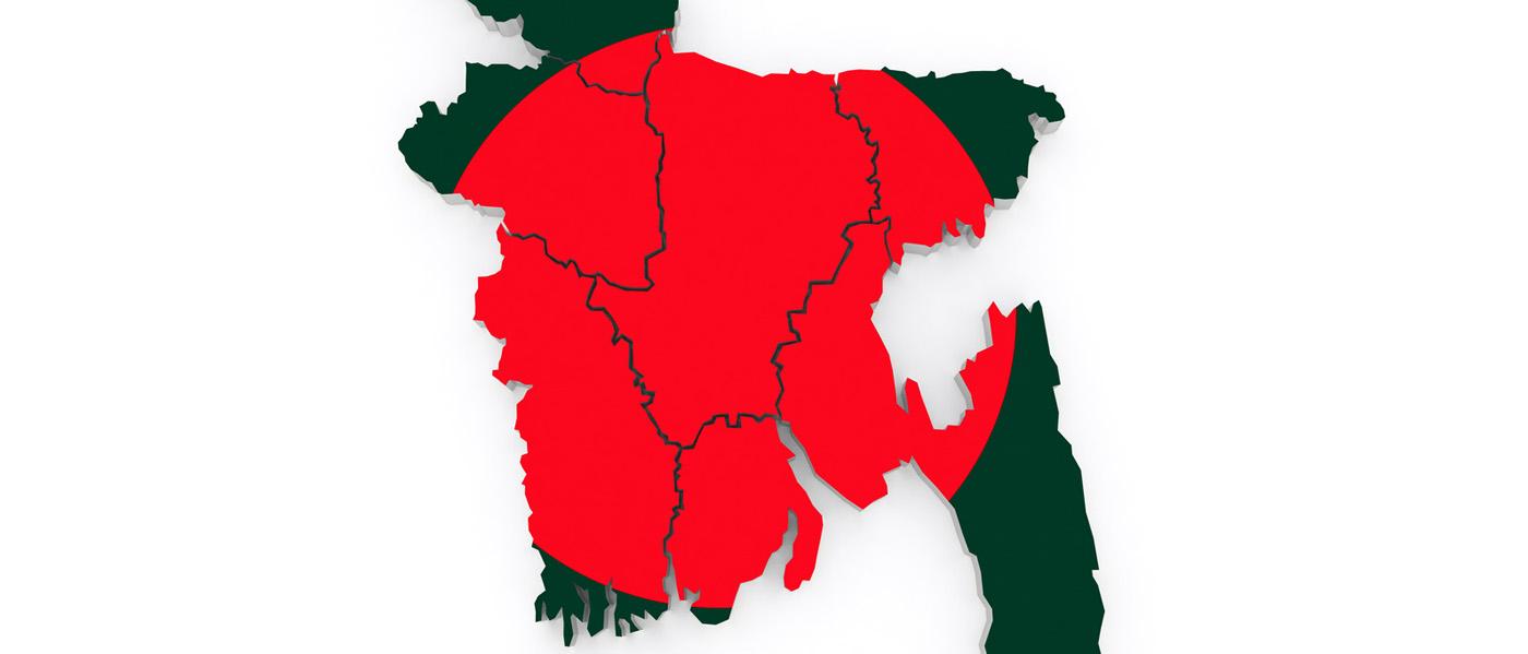 Landkarte von Bangladesch in Rot und Grün. Seefracht nach Bangladesch mit Seefrachtspezialist Contibridge